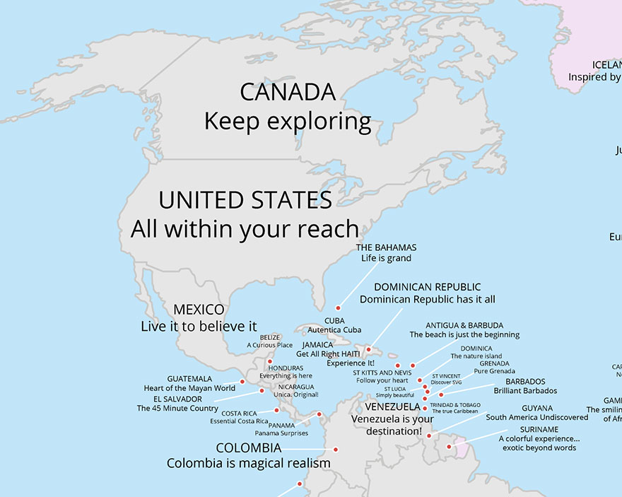 World map that shows every countrys tourism slogan 7 pics north america gumiabroncs Gallery